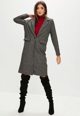 Grey Longline Checked Coat