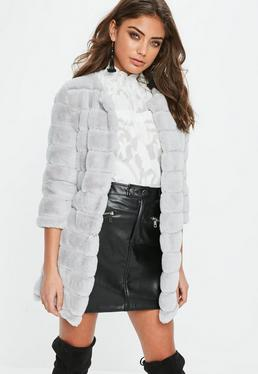 Gray Pelted Soft Faux Fur Coat