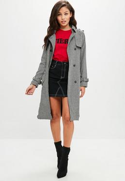 Black Checked Trench Coat