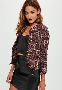 Red Frayed Edge Tweed Jacket