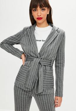 Grey Pinstriped Wrap Blazer
