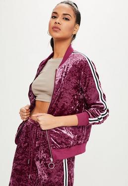 Pink Velvet Side Stripes Jacket