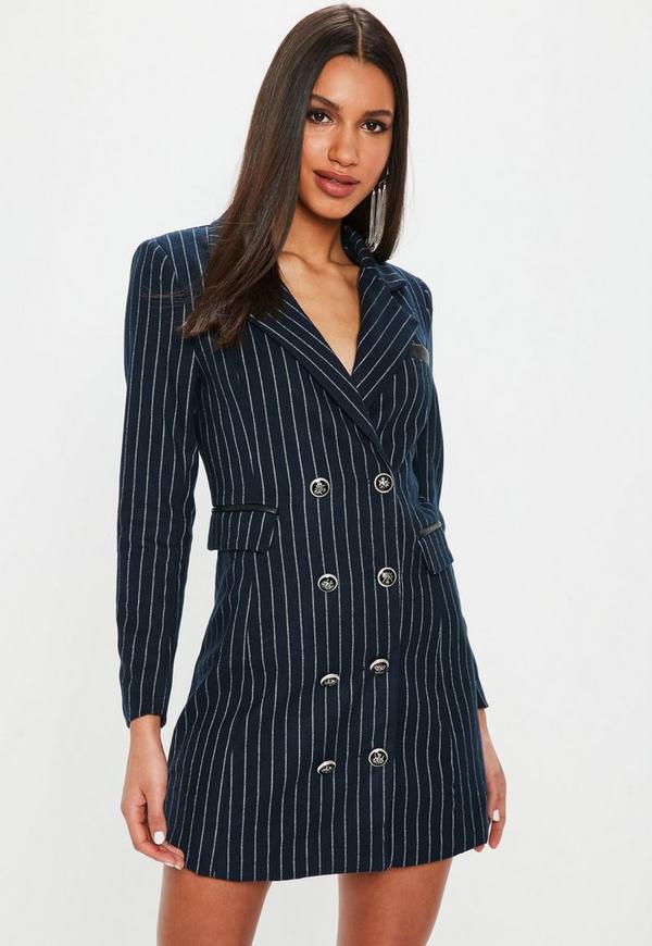 5a76a22d13 ... Navy Pinstripe Blazer Dress. Previous Next