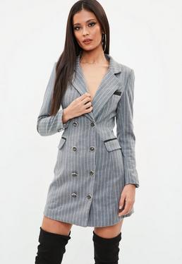 Grey Pinstripe Longline Blazer