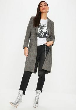 Black Checked Tweed Long Coat