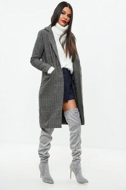 Grey Checked Tweed Long Coat