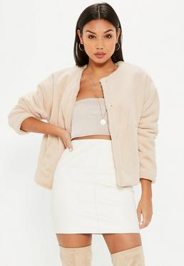 Cream Faux Fur Teddy Cropped Jacket