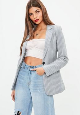 Grey Pinstripe Single Button Blazer