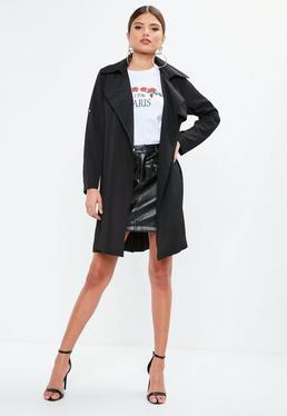 Czarny płaszcz Trench