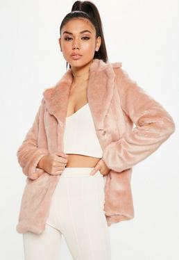 Pink Collared Faux Fur Coat