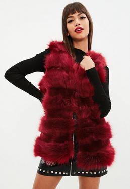 Red Faux Fur Pelted Vest