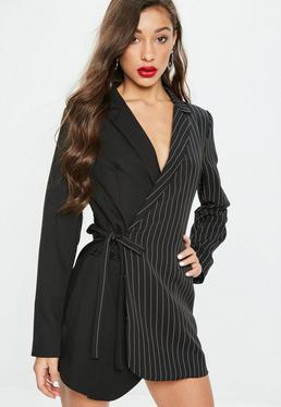 Black Two Tone Pinstripe Wrap Blazer