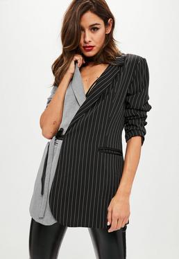 Grey Two Tone Pinstripe Wrap Blazer