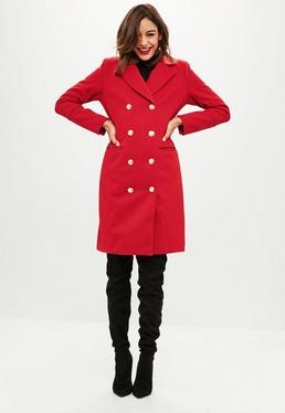 Red Longline Button Detail Wool Coat