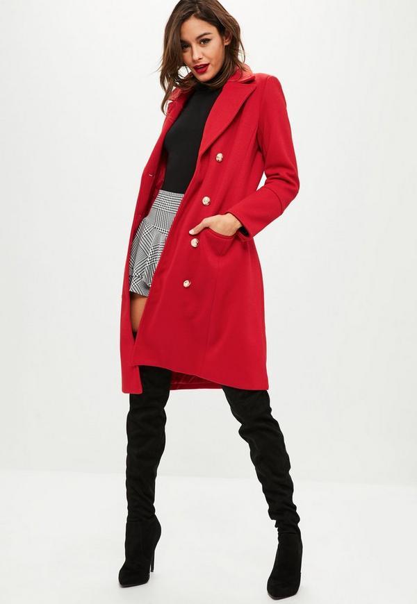 manteau rouge boutons missguided. Black Bedroom Furniture Sets. Home Design Ideas
