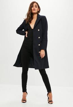 Granatowy wełniany płaszcz z guzikami