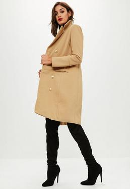 Taupe Long Line Button Detail Wool Coat