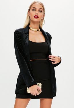 Black Velvet Tie Waist Blazer