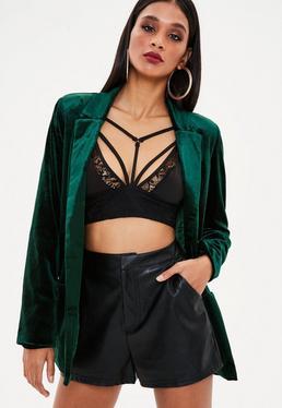 Green Velvet Tie Blazer