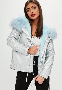 Silver Metallic Blue Fur Hooded Parka Coat