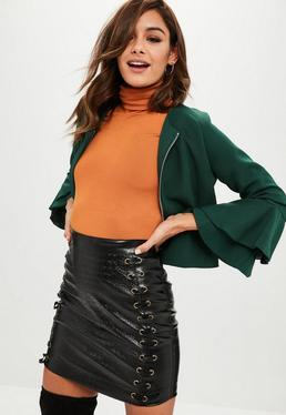 Green Cropped Bell Sleeve Jacket