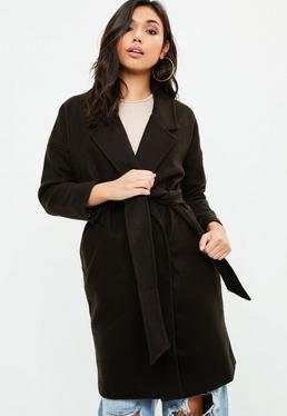 Black Wrap Round Coat