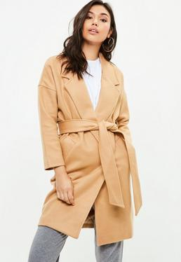 Camel Relaxed Fit Belted Coat