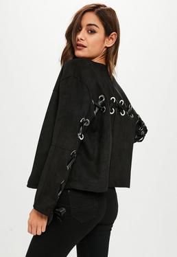 Black Eyelet Faux Suede Jacket