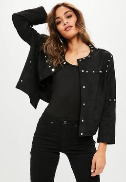 Black Studded Collarless Faux Suede Jacket
