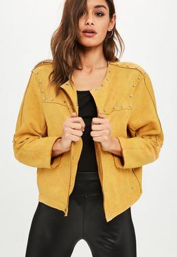 Yellow Studded Collarless Faux Suede Jacket