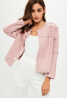Pink Studded Collarless Faux Suede Jacket