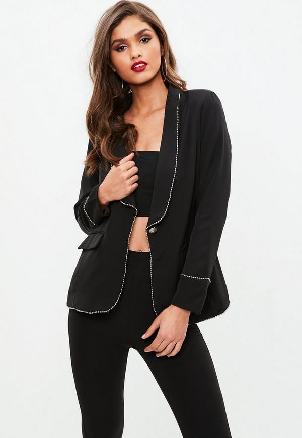 Black Stud Trim Blazer by Missguided