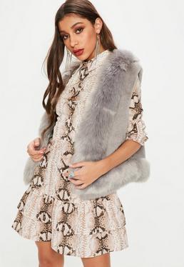 Grey Super Soft Faux Fur Gilet