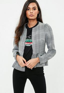 Gray Plaid Collarless Blazer