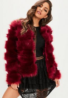 Red Pelted Faux Fur Coat