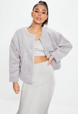 Light Gray Faux Fur Teddy Cropped Jacket