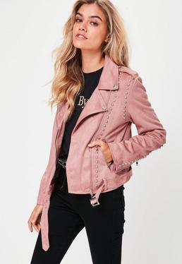 Pink Studded Faux Suede Jacket