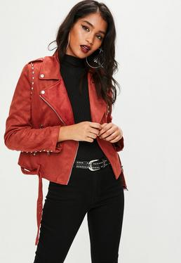 Burgundy Studded Faux Suede Jacket