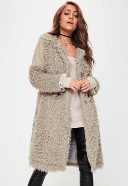 Beige Collarless Shaggy Longline Coat