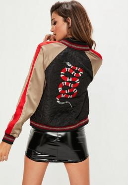 Black Sporty Satin Quilted Bomber Snake Back Jacket