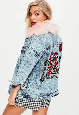 Pink Washed Snake Denim Jacket