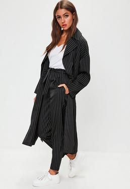 Black Pinstripe Duster Jacket