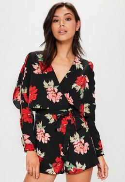 Black Split Sleeve Floral Printed Playsuit