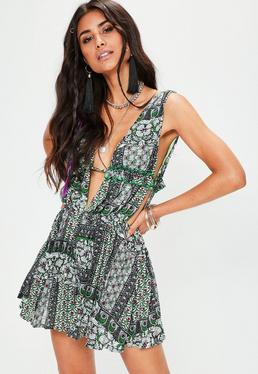 Green Cut Out Side Frill Printed Dress