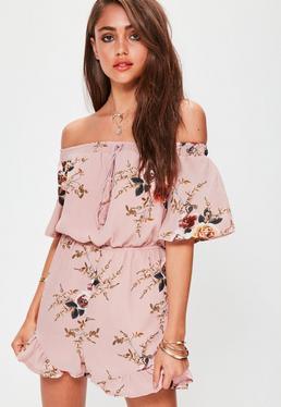 Pink Floral Bardot Frill Short Playsuit