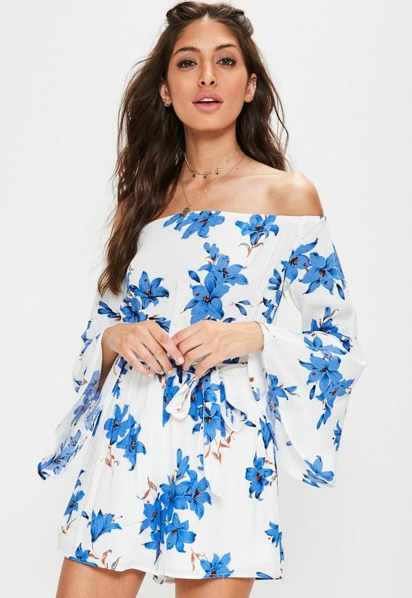 White Floral Flared Sleeve Playsuit