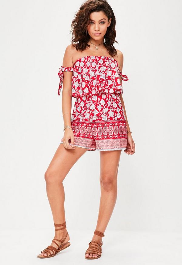 Red Bandeau Printed Frilled Layer Playsuit