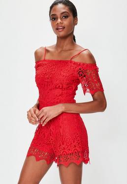 Red Lace Bardot Romper