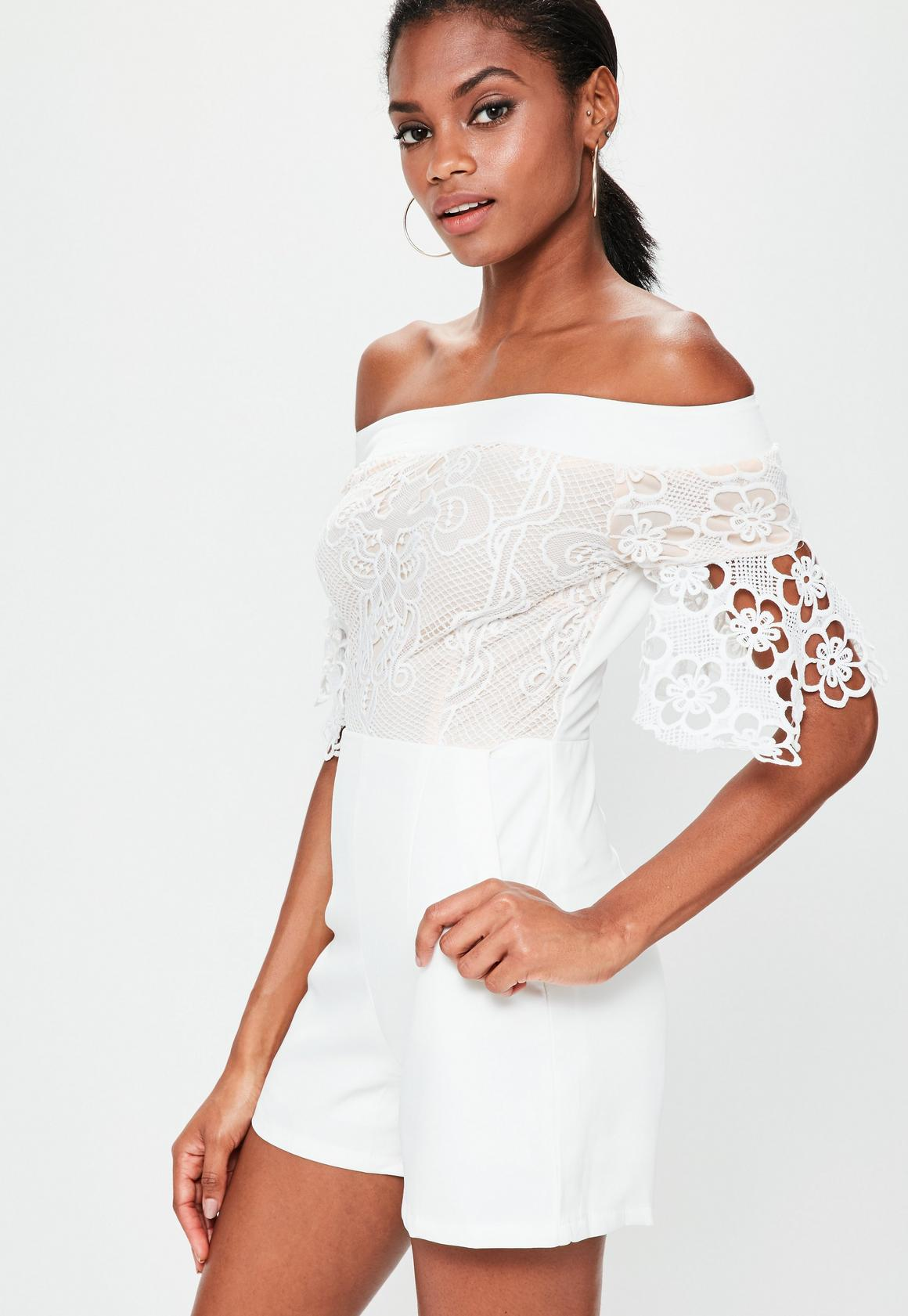 White Bardot Lace Top Playsuit | Missguided