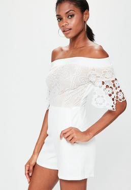 White Bardot Lace Top Romper